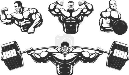 Silhouettes athletes bodybuilding