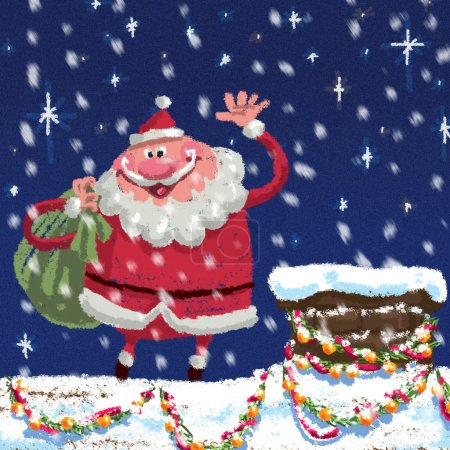 Scene of cartoon Santa Claus at roof delivering Christmas presen