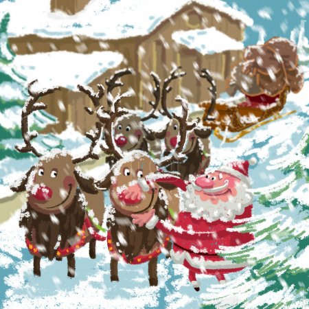 Photo for Outdoor Xmas scene of cartoon Santa Claus with sled and his reindeers preparing to deliver gifts while is snowing in front of his home - Royalty Free Image