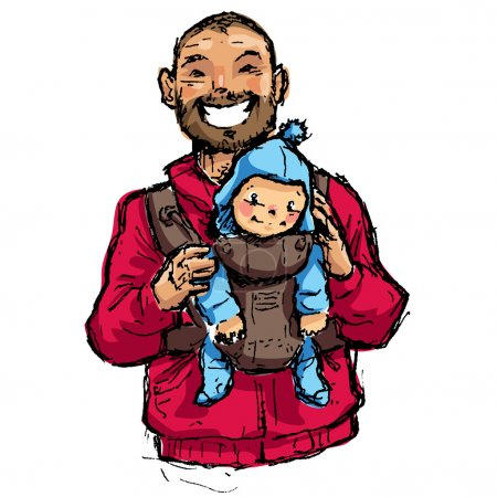 Cartoon vector illustration father with baby son in carrier pouc