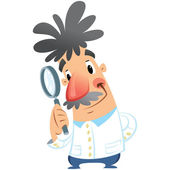 Cartoon happy smiling medical scientist holding magnifying glass