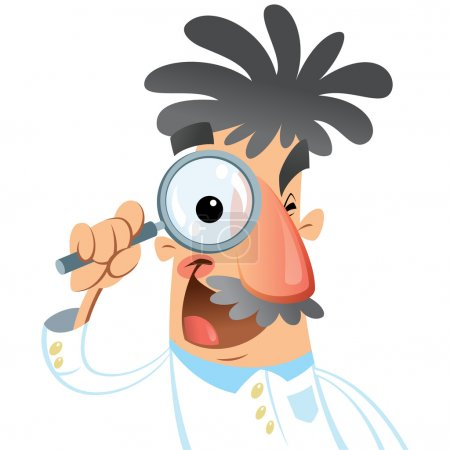 Illustration for Vector illustration of cartoon doctor scientist looking through lens with a big eye during a research isolated in white background - Royalty Free Image