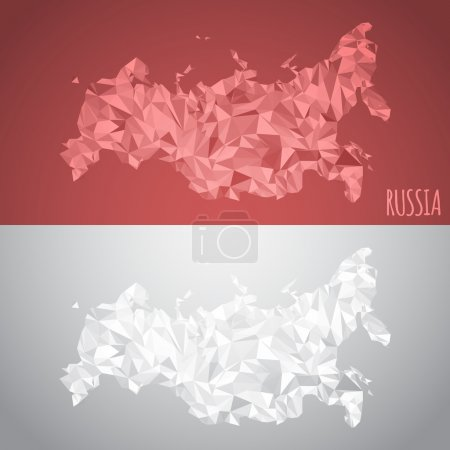 Low-Poly-Russland-Karte mit Nationalfarben