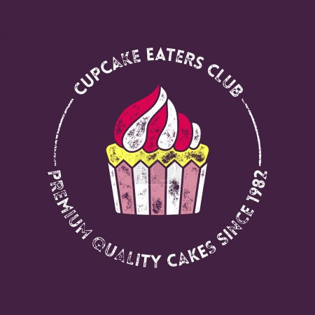 Cupcake Eaters Club Retro Vector Badge or Stamp