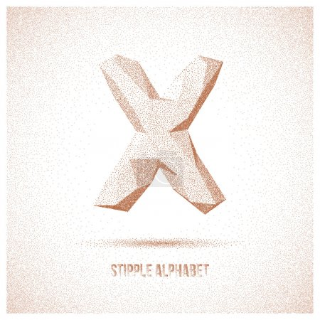 Letter X from Stipple Alphabet - Typeface Made Fro...