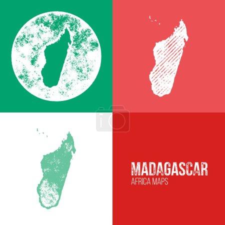 Мадагаскар Гранж Ретро Карты Африки