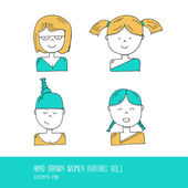 Set of Hand Drawn Flat Line Design People Icon avatars for Social Network and Your design Women Vol 01 - Vector Illustration