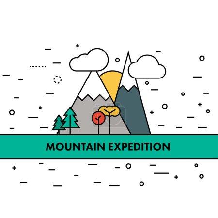 Thin flat line mountain adventures illustration. Motivational po