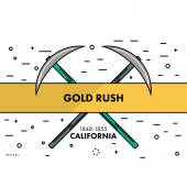 Flat thin line Gold Rush California banner or logo template Two