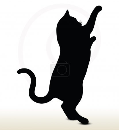 Illustration for Illustration of cat silhouette isolated on white background - in reaching pose - Royalty Free Image