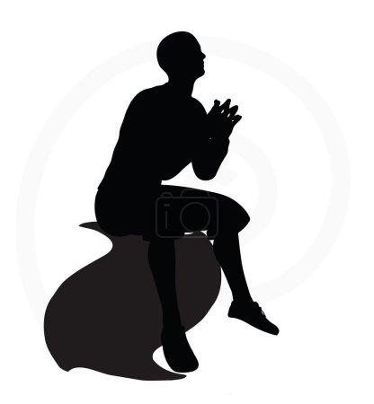 Illustration of senior climber man