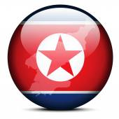 Map on flag button of Democratic People's Republic of Korea Nor