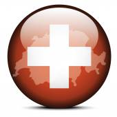 Map on flag button of Switzerland Swiss Confederation