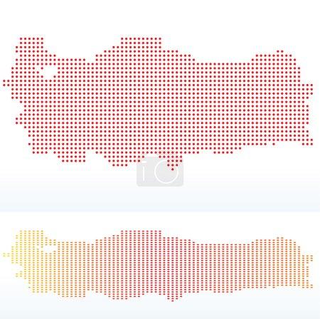 Carte de la République de Turquie avec motif de points