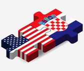 Vector Image - USA and Croatia Flags in puzzle  isolated on white backgroun
