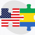 Постер, плакат: USA and Gabon Flags in puzzle