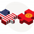 Постер, плакат: USA and Kyrgyzstan Flags in puzzle