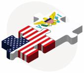 USA and United States Virgin Islands Flags in puzzle