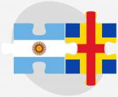 Argentina and Aaland Islands Flags in puzzle