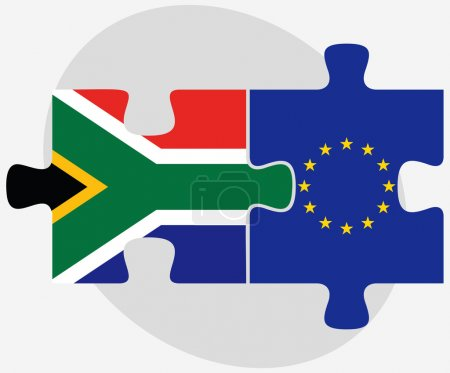 Illustration for Vector Image - South Africa and European Union Flags in puzzle isolated on white backgroun - Royalty Free Image