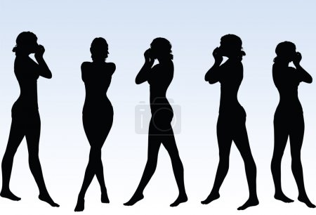 woman silhouette with hand gesture mouth closed