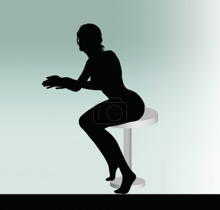 Woman silhouette with sitting pose leaning on table