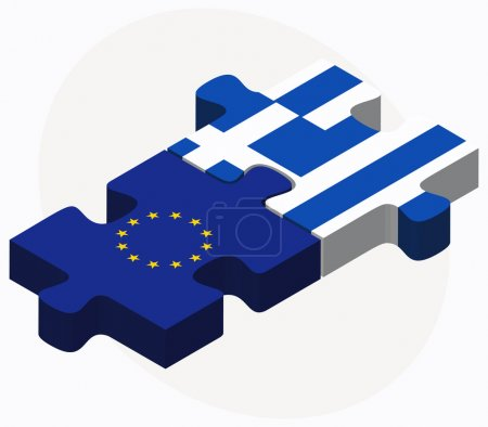 European Union and Greece Flags in puzzle isolated on white back
