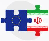 European Union and Iran Flags in puzzle