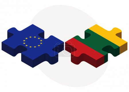 European Union and Lithuania Flags in puzzle
