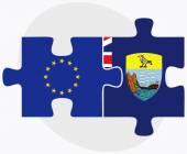 European Union and Saint Helena Flags