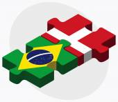 Brazil and Kingdom of Denmark Flags in puzzle isolated on white backgroun