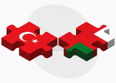 Turkey and Oman Flags