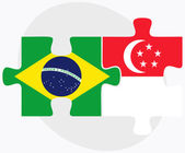 Brazil and Singapore Flags in puzzle isolated on white backgroun