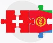Switzerland and Eritrea Flags in puzzle isolated on white background