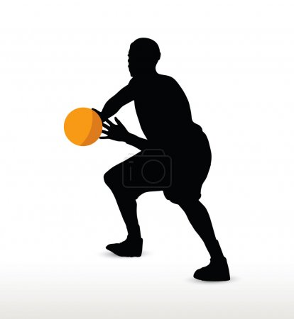 basketball player silhouette in hold pose