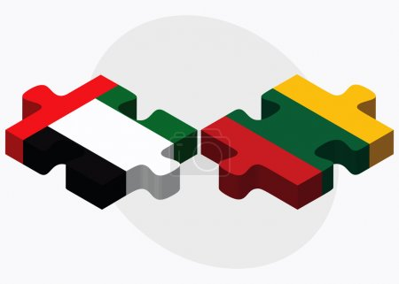 United Arab Emirates and Lithuania Flags