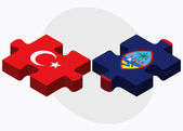 Turkey and Guam Flags in puzzle isolated on white background