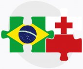 Brazil and Tonga Flags in puzzle isolated on white background