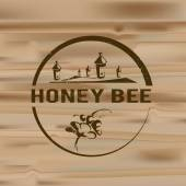 Honey badges logos and labels for any use on wooden background texture