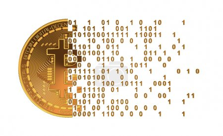 Photo for Bitcoin Falling Apart To Computer Digits. 3D Model - Royalty Free Image