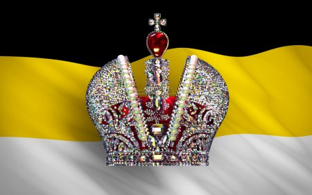 Big Imperial Crown Over Flag Of Russian Empire