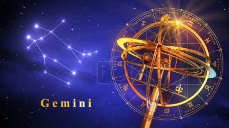Armillary Sphere And Constellation Gemini Over Blue Background
