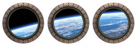 Photo pour Trois hublots de la Station spatiale. Scène 3d réaliste. - image libre de droit