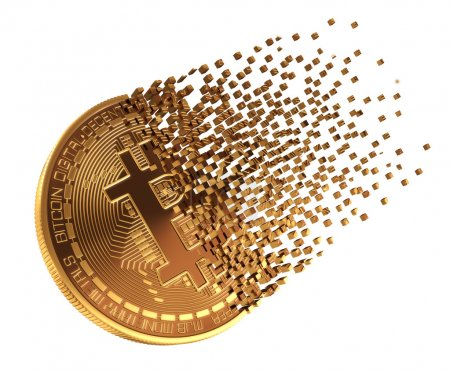 Photo for Bitcoin Falls Apart To Pixels. 3D Model. - Royalty Free Image