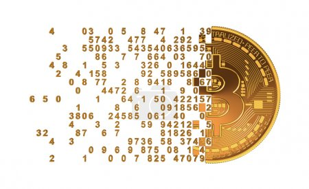 Photo for Bitcoin Falling Apart To Digits Concept. 3D Model. - Royalty Free Image