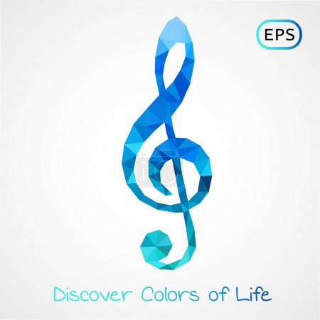 colorful poly style g-clef isolated