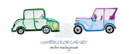 watercolor cartoon car set