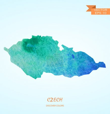 watercolor map of Czech Republic