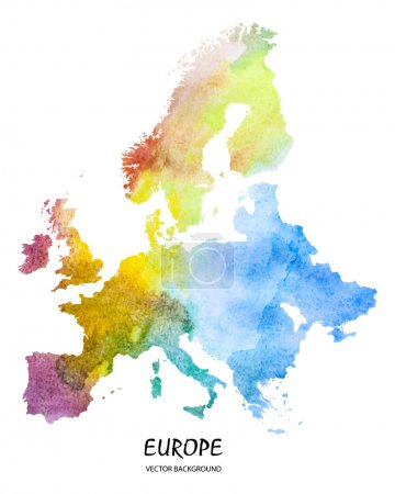 Illustration for Hand drawn watercolor map of Europe isolated on white. Vector version - Royalty Free Image