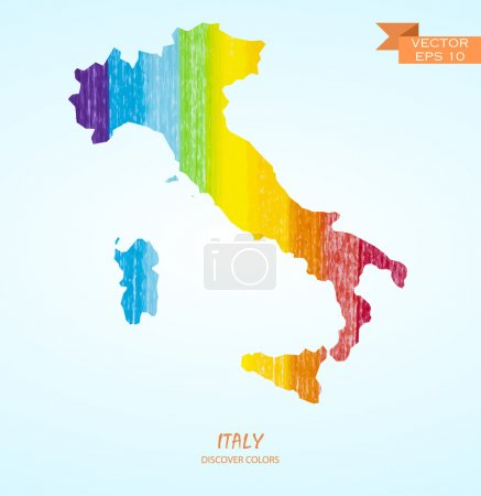 Pencil stroke map of Italy